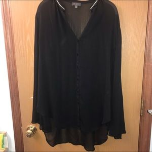 Sheer Black Button up Blouse